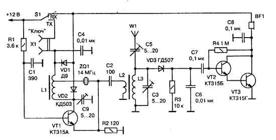 вверх.  На этой страничке хочу познакомить Вас с несколькими схемами радиолюбительских радиостанций.